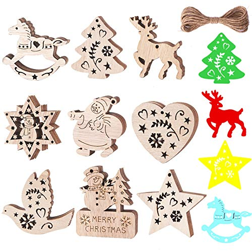 Wooden Christmas Ornaments 54 Pcs Wood Cutouts Slices Christmas Crafts Kits With Snowman, Santa Claus, Snowflake, Deer, Heart, Bird, Christmas Tree, Horse, Star & Xmas (Cut Out Ornaments Christmas)