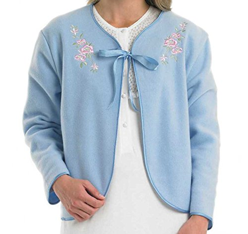 Slenderella Ladies Polar Fleece Ribbon Tie Bed Jacket Floral Embroidered House Coat UK 12/14 (Embroidered Bed Jacket)