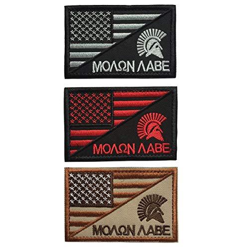 SpaceAuto Bundle 3 Pieces USA American Flag w/ Molon Labe Spartan Helmet Military Tactical Morale Badge Decorative Emblem Combat Patch 3