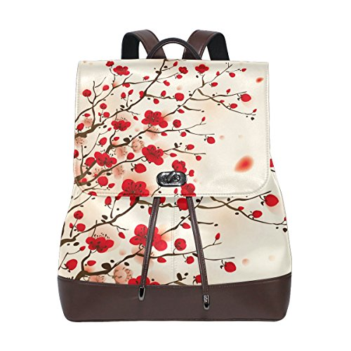 KUWT Oriental Style Painting Plum Blossom PU Leather Backpack Photo Custom Shoulder Bag School College Book Bag Casual Daypacks Diaper Bag for Women and Girl