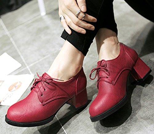 Idifu Kvinners Elegant Midten Chunky Hæler Snøre På Oxfords Pumper Sko Røde