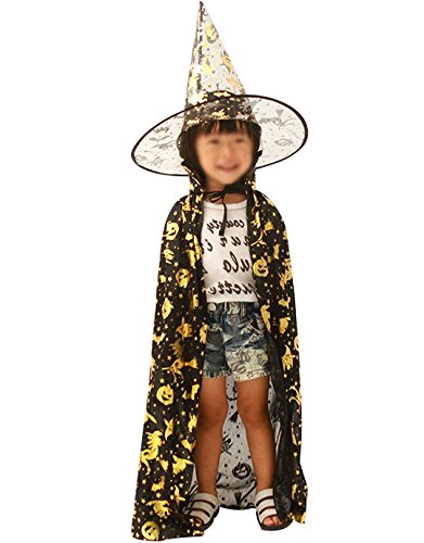 Shinigami Halloween Costume (Costume Witch Wizard Shinigami Cloak + Hat with Stars Printing)