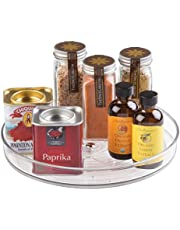InterDesign Linus Spice Carousel, Herb Rack for Storing Spice Jars, BPA-Free Plastic, Clear, Small