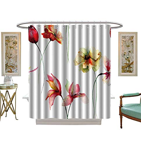 (Miki Da Shower Curtains with Shower Hooks Seamless Wallpaper with Decorative Wild Flowers,Watercolor Satin Fabric Sets Bathroom Size:W69 x L70 inch)