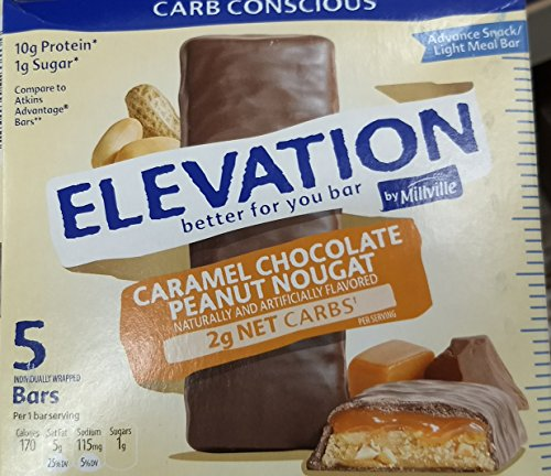 Elevation Caramel Chocolate Peanut Nougat Advance Breakfast Bar 1.6 Ounce x 5 Bars (Total 8 Ounces), Pack of ()