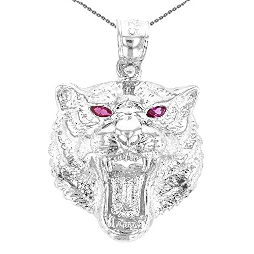 (Animal Kingdom Fine Sterling Silver Roaring Red CZ Eyed Bengal Tiger Pendant Necklace, 18