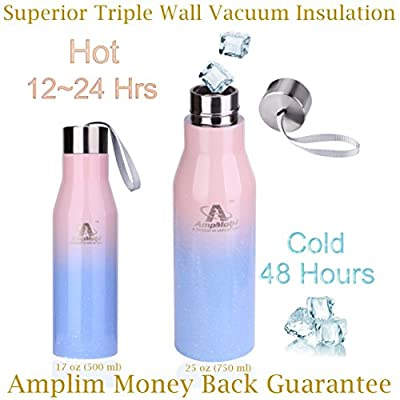 Amplim Triple Wall Vacuum Insulated Leak Proof Standard Mouth Stainless Steel Metal Water Bottle. Ice Cold 48 Hot 12 Hours. FDA Approved Food-Grade BPA Free Kid/Adult Sports Flask. 17, 25 oz Pink Blue