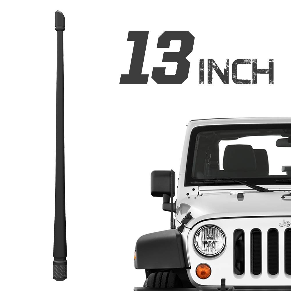 Rydonair Antenna Compatible with Jeep Wrangler JK JKU JL JLU Rubicon Sahara (2007-2021) & Gladiator | 13 inches Flexible Rubber Antenna Replacement | Designed for Optimized FM/AM Reception