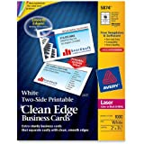Avery Two-Side Printable Clean Edge Business Cards for Laser Printers, White, Box of 1000 (5874)