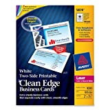 Avery Two-Side Printable Clean Edge Business Cards for Laser Printers, White, Box of 1000 (5874), Office Central