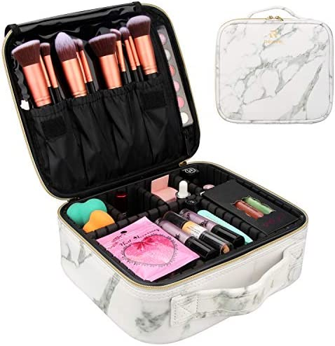 Marble Makeup Case Travel Makeup Bag Marble Cosmetic Bag Makeup Train Case for Women Brush Storage Box Organizer Holder with Adjustable Dividers (Marble Pattern)