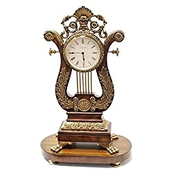 Maitland-Smith Aged Regency Finished Wood Mantel Clock with Antique Brass Accents