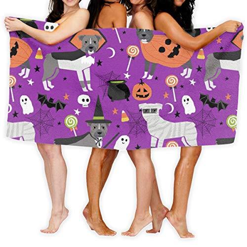 Pitbull Halloween Costume Dog Vampire Ghost Mummy Purple_16844 100% Polyester Beach Towel Chair (31