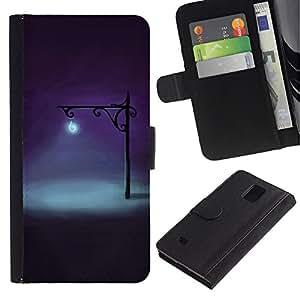 LASTONE PHONE CASE / Lujo Billetera de Cuero Caso del tirón Titular de la tarjeta Flip Carcasa Funda para Samsung Galaxy Note 4 SM-N910 / Lamp Bright Light Night Deep Dark