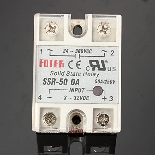 Wooya Solid State Relay Ssr-50Da 3-32Vdc 50A//250V Sortie 24-380Vac with Cover