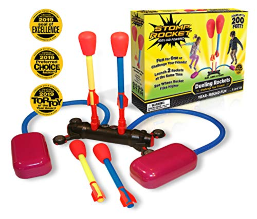 Stomp Rocket Dueling Rockets, 4 Rockets and Rocket Launcher - Outdoor Rocket Toy Gift for Boys and Girls Ages 6 Years and Up - Great for Outdoor Play with Friends in The Backyard and Parks (Rocket Birthday)