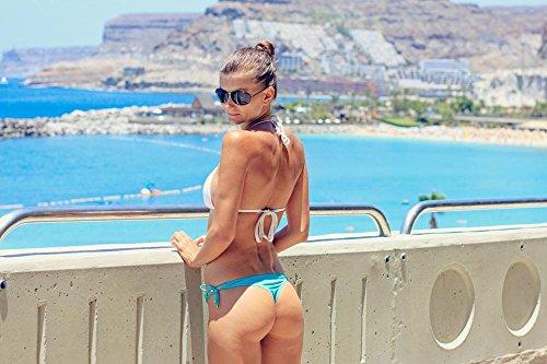 Quality Prints - Laminated 36x24 Vibrant Durable Photo Poster - Summer Bikini Woman Sexy Young Woman Beach Beautiful Beach Sea Thong Beautiful Holiday Gran Canaria Canary Islands Amadores Buttocks