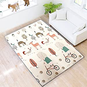 Play mat baby Care Play Mat XPE Foam Floor Gym Slip Thickening Reversible Waterproof playmat Portable double sides Kids Play Mat Baby Toddler Outdoor or Indoor Use(Deer, 59x70x0.8in)
