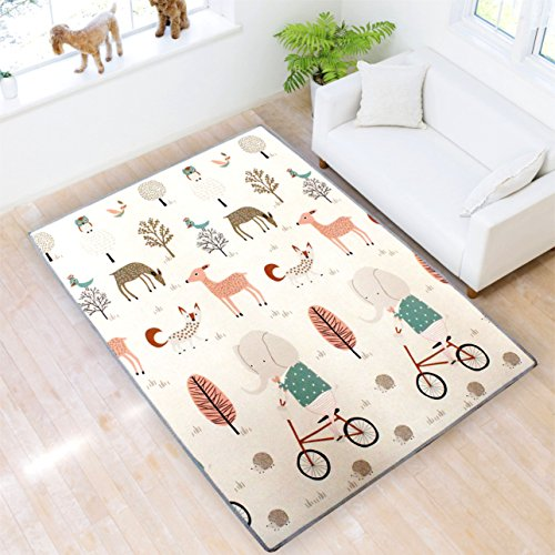 Play mat Baby Care Play Mat XPE Foam Floor Gym Slip Thickening Reversible Waterproof playmat Portable Double Sides Kids Play Mat Baby Toddler Outdoor or Indoor Use(Deer, 59x70x0.8in) (Mat Sided Double Baby)