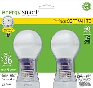 GE Lighting 74725 15-Watt Energy-Smart Covered Glass CFL Light Bulbs, 60-Watt Equivalent, 2-Pack