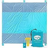 #7: Otrestodyl Sandproof Beach Blanket 9'x10' XXL Oversized Extra Large Waterproof Picnic Mat, Lightweight, Packable, Good for Sand, Grass, Outdoor, Blue