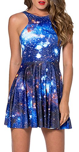 Sister Amy Women's Galaxy Printed Elastic Sleeveless Shaping Camisole Skater Navy Medium
