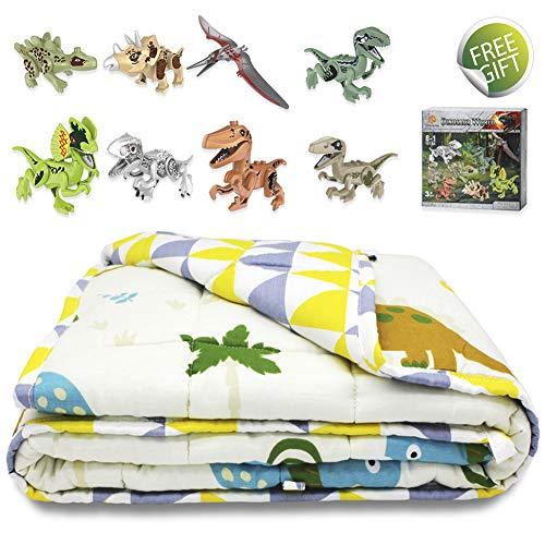 Cheap TerriTrophy Kids Weighted Blanket with Dinosaur Blocks 41 x 60inches 100% Cotton Heavy Weighted Blanket for Kids Gift for Boys Girls Children Black Friday & Cyber Monday 2019