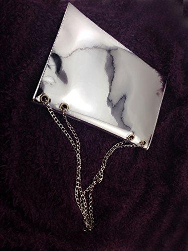 Zarapack Mujer plateada de espejo efecto piel sintética sobre embrague bolso de mano cadena de bolso de mano bolso bandolera With Chain