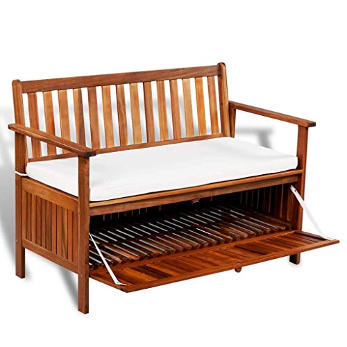 "Festnight Wooden Outdoor Storage Bench Acacia Wood Garden Patio Deck Storage Container with Cushion Seat Armrest and Backrest Cabinet Chair Pool Yard Furniture 47.2"" x 24.8"" x 33.1"" (W x D x H)"