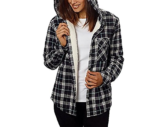 - Boston Trader Womens Cotton Plaid Flannel Sherpa Lined Hooded Button down Shirt Black/White XL