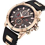 Men's Analog Quartz Chronograph Watch with Date Luminous Waterproof Black Silicone Band Rose Gold Fashion Casual Dress Wrist Watches