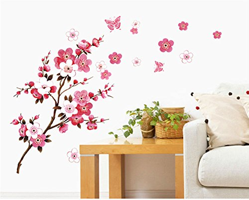 SWORNA Nature Series Branch Pink Flowers & Butterfly Removable Vinyl Mural Wall Art Decor Home Stickers Decals Bedroom/Hallway/Sitting/Living Room/Kids Nursery (29.5''H X 65''W, Brown & Pink,X-L) (Pink Brown Wall Decor)