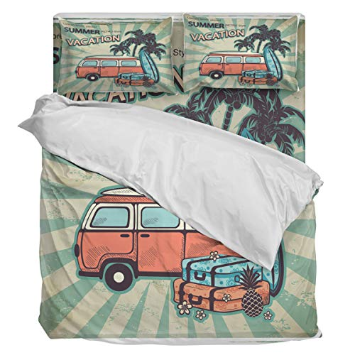 Bedding Duvet Cover Set- Ultra Soft 4 Piece(1 Duvet Cover+1 Flat Sheet + 2 Pillowcases) Retro Style Vacation Camping Car Twill Plush Comforter Cover Set, Queen