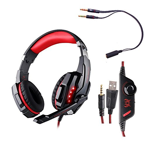 Gaming Headset, CEStore KOTION EACH G9000 3.5mm Game Over-Ear Headphone with Microphone Volume Control LED Light for Sony PlayStation 4 PS4 Laptop Computer Tablet Samsung iPhone - Black + Red