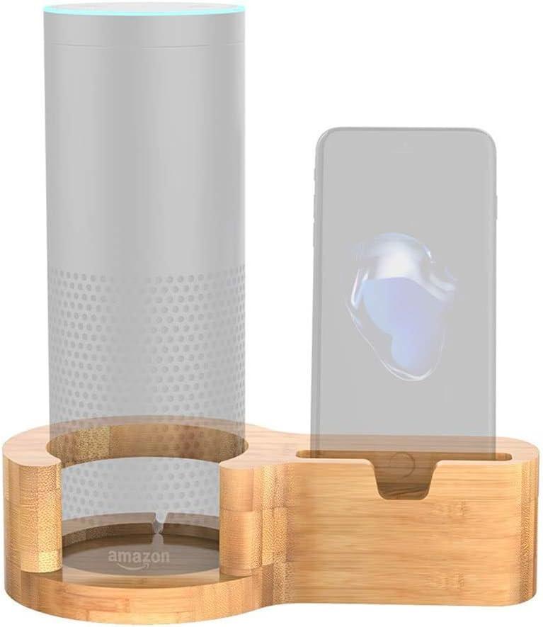 Wingeri Nuevo teléfono Titular Soporte de Carga de teléfono de bambú, Soporte Multifuncional para el Altavoz Echo iPhone 7 Plus Samsung S8 + Amplia Gama de Aplicaciones