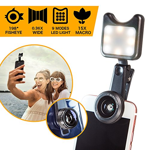 Cell Phone Camera Lens Kit with Clip-On LED Selfie Light - 36x Wide Angle, 15x Macro, 198-degree Fisheye Lens for iPhone, Android Smartphones and Tablets by La Lune by La Lune