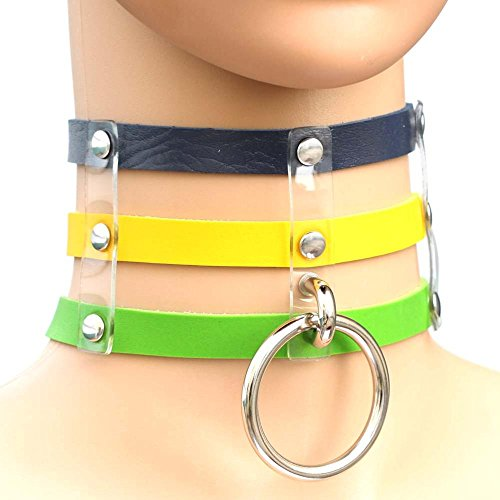 Pracien - World Cup National Flags Punk Goth Rivets Choker Handmade Three Row Caged Necklace Vinyl Leather Choker Collar Necklace [ Blue Yellow Green ] ()