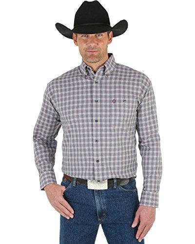 - Wrangler Men's George Strait White Wine Plaid Shirt Wine Large