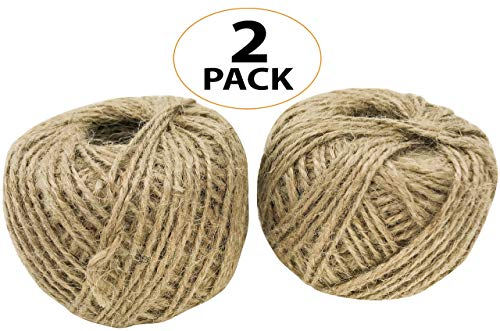 Christmas Rope Toy - Bonka Bird Toys 2057 Pk2 Natural Jute Twine String 390 ft Rope Bird Parrot Toy Craft Part Gift Burlap Ribbon Wrapping Paper Rustic tag Decor Gardening eco Friendly tie Decoration