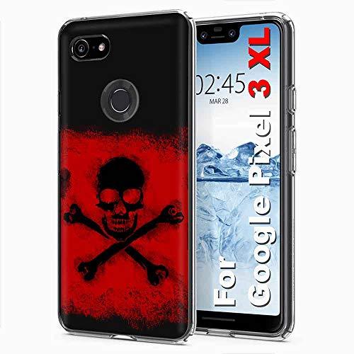 [PlusBrite] Google [Pixel 3 XL] [Clear] Flex Defender Soft Slim Phone Cover Case Feature Ultra-Thin, Soft to Touch TPU Case for Pixel3XL,Pixel 3XL [Cross Skull Print] Design in USA