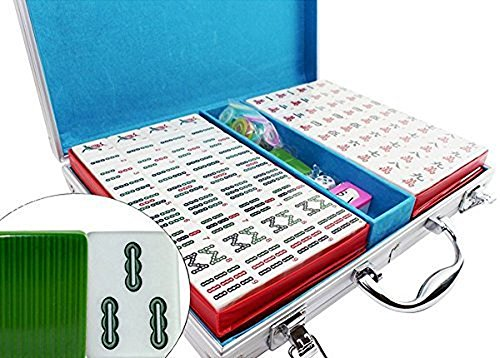 (We pay your sales tax 高品質麻將 Classic Chinese Mahjong Game Set - 144 Numbered Green Melamine TilesLucky Dog Pattern Aluminum case Complete set weighs 9 lbs ( Mahjongg, Mah-Jongg, Mah)
