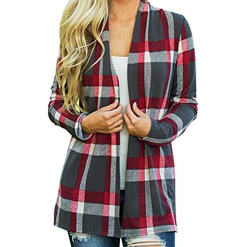 Pastel Coat Rack - Open Front Plaid Coat Women Cardigan Blouse Jacket Outerwear