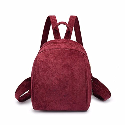 Lmdsg Simple Velvet Retro Peacock Female Backpack Red Bag 2018 Version Student Shoulder Blue Print Korean Wild Bag Small Mini Corduroy Wine wxqrCzwp