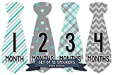 Months in Motion 712 Monthly Baby Stickers Necktie Tie Baby Boy Months 1-12