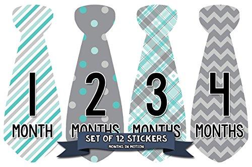 Months In Motion Monthly Baby Tie Stickers – Boy Month Milestone Necktie Sticker – Onesie Month Sticker – Infant Photo Prop for First Year – Shower Gift – Newborn Keepsakes