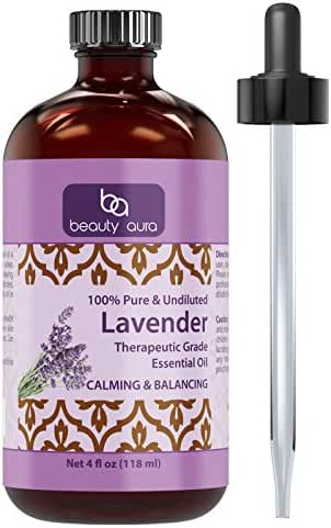 Beauty Aura 100% Pure Lavender Essential Oil - 4 oz Bottle - Finest Quality Therapeutic Grade Essential Oils – Ideal For Aromatherapy