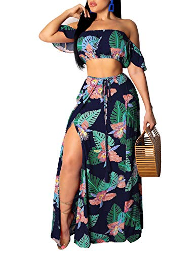 Rela Bota Women's Sexy 2 Piece Outfit Printed Off Shoulder Crop Top Maxi Skirt Slit Party Dress Blue XXL -