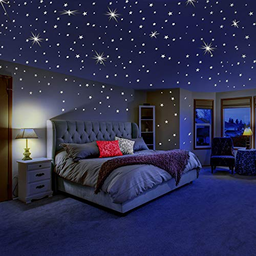 Glow in The Dark Stars for Ceiling or Wall Stickers - Glowing Wall Decals Stickers Room Decor Kit - Galaxy Glow Star Set and Solar System Decal for Kids Bedroom Decoration