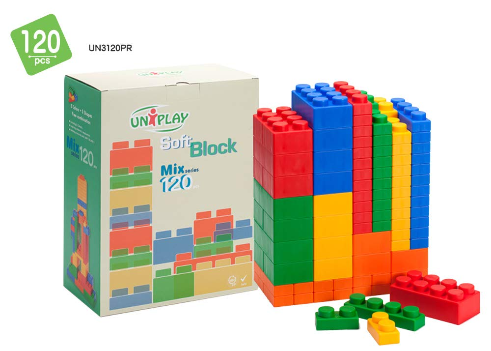 UNiPLAY Antibacterial Jumbo Soft Building Blocks Mix Series Multi colors 120pcs
