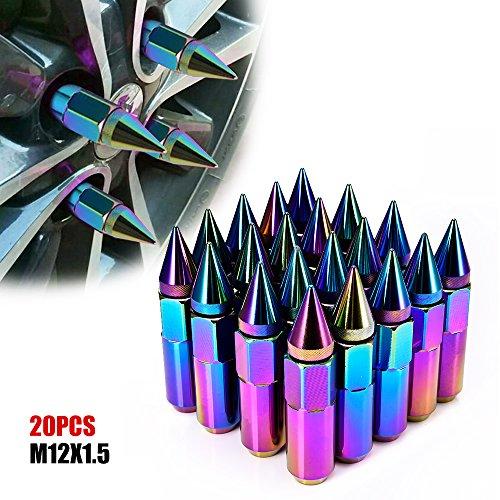 ACUMSTE 20Pcs Spike Lug Nuts, Aluminum M12X1.5 60mm Extended Tuner Wheels Rims Lug Nuts(Neo ()